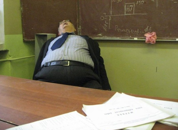 teacher sleeping